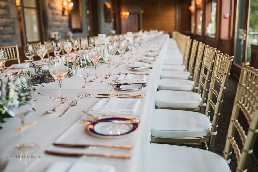 golden table at at Forest and Stream club wedding  by Ness Photography
