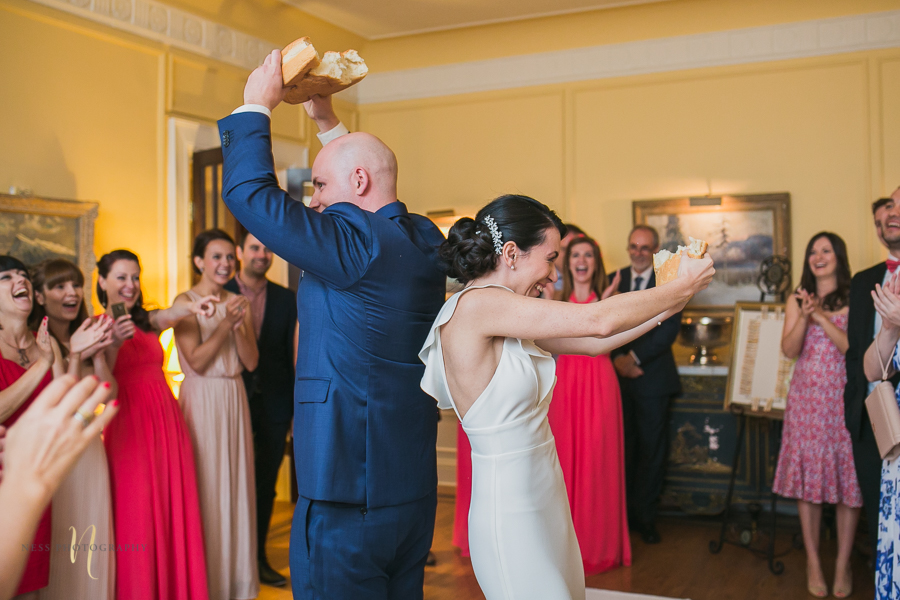 bread breaking tradition at bulgarian wedding at at Forest and Stream club wedding  by Ness Photography