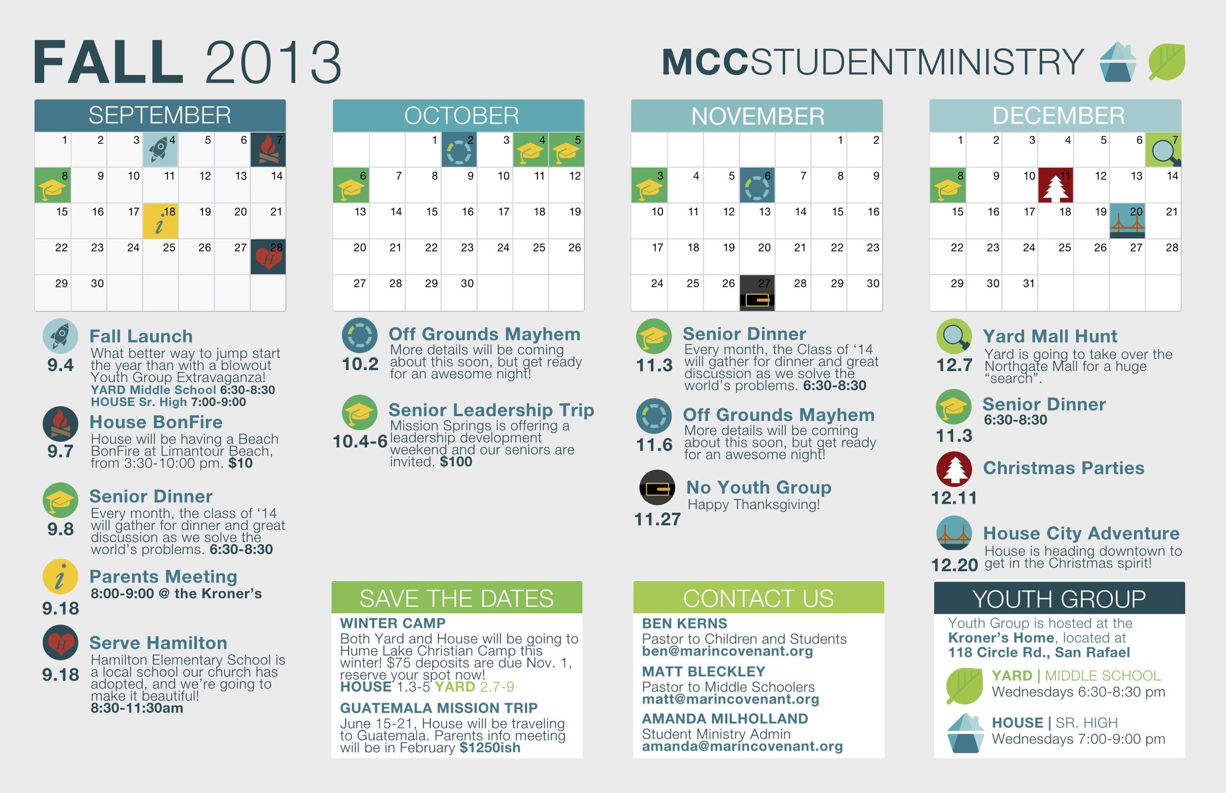 MCC Fall Calendar
