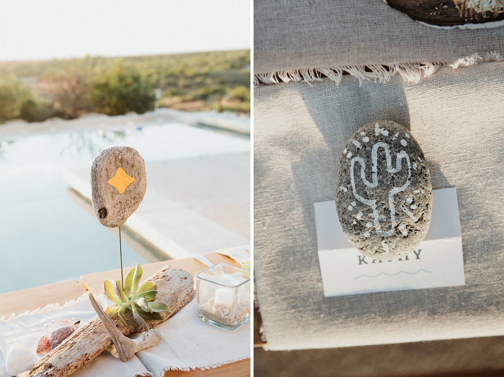 How darling are these painted rocks and driftwood used as centerpieces?