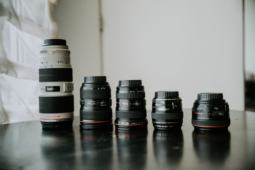 The full line up of lenses I own. With these guys I've got everything more than covered.