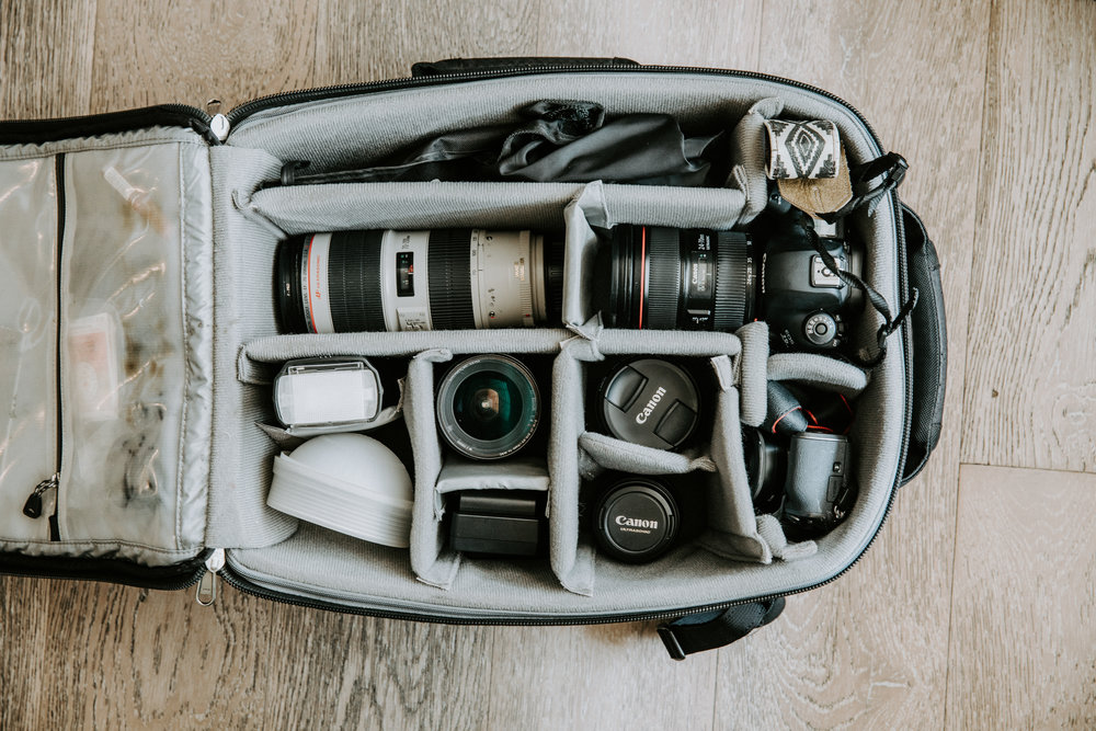 This is my bag fully assembled and ready to rock a wedding. I try and put everything back in the same pocket that way I get a quick read at the end of the night on of all of my gear is coming home with me.