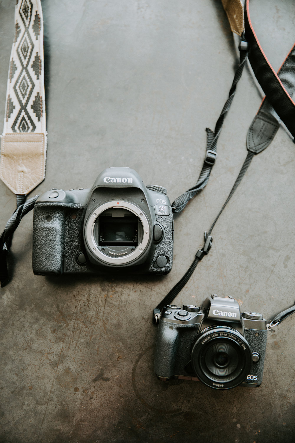 The two camera bodies I use pictured above are the Canon Mark IV & the Canon M5.