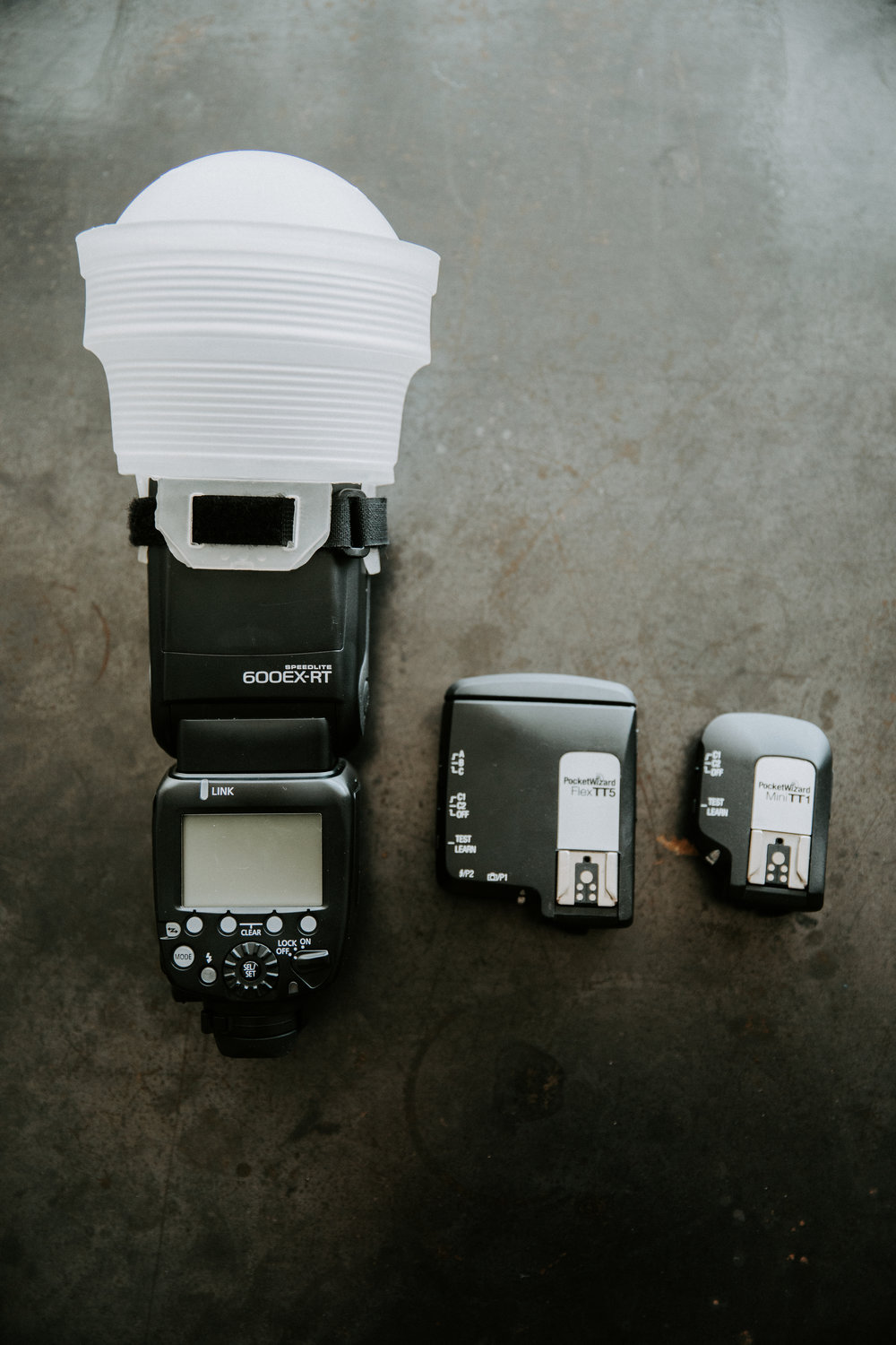 Canon 600EX-RT Speedlite & Pocket wizards for off camera flash.