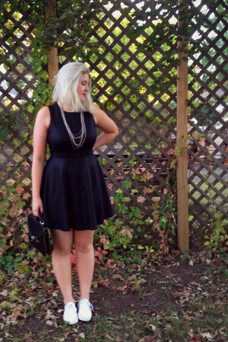 Similar Black Fit & Flare Dress:   French Connection  or  Modcloth   // Similar Satchel Bag:   Cambridge Satchel   // Similar Necklace:   Etsy
