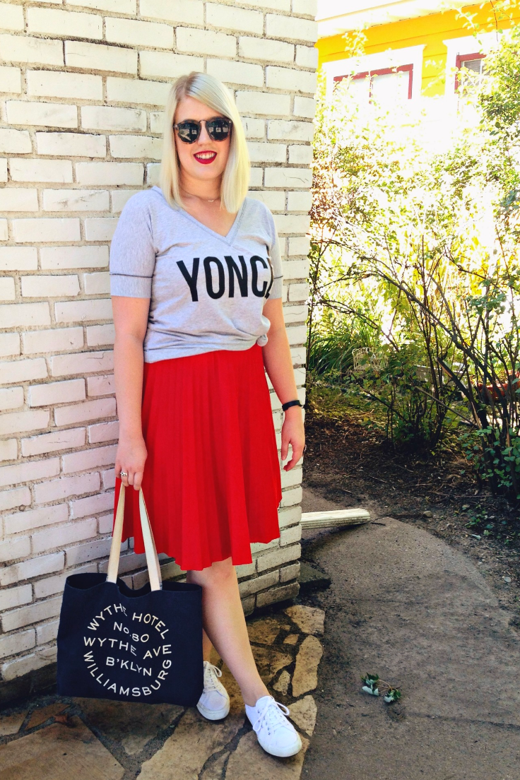 Top:    Etsy  // Skirt:   Etsy  // Bag:   Wythe Hotel  // Ring:   Shirvan Rug Gallery  // Sunglasses:   Karma Boutique  // Always Wearing:   Fitbit Flex