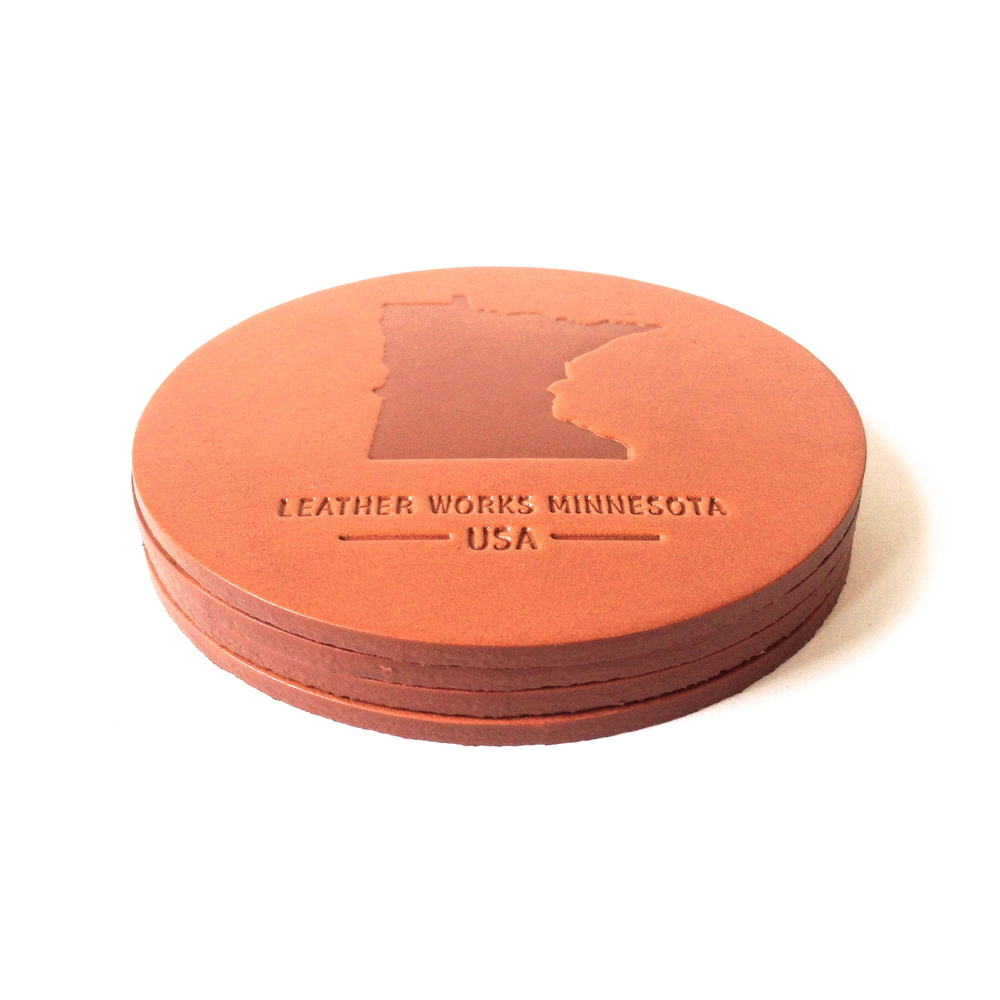 Leather Works Minnesota Coaster Set - $24
