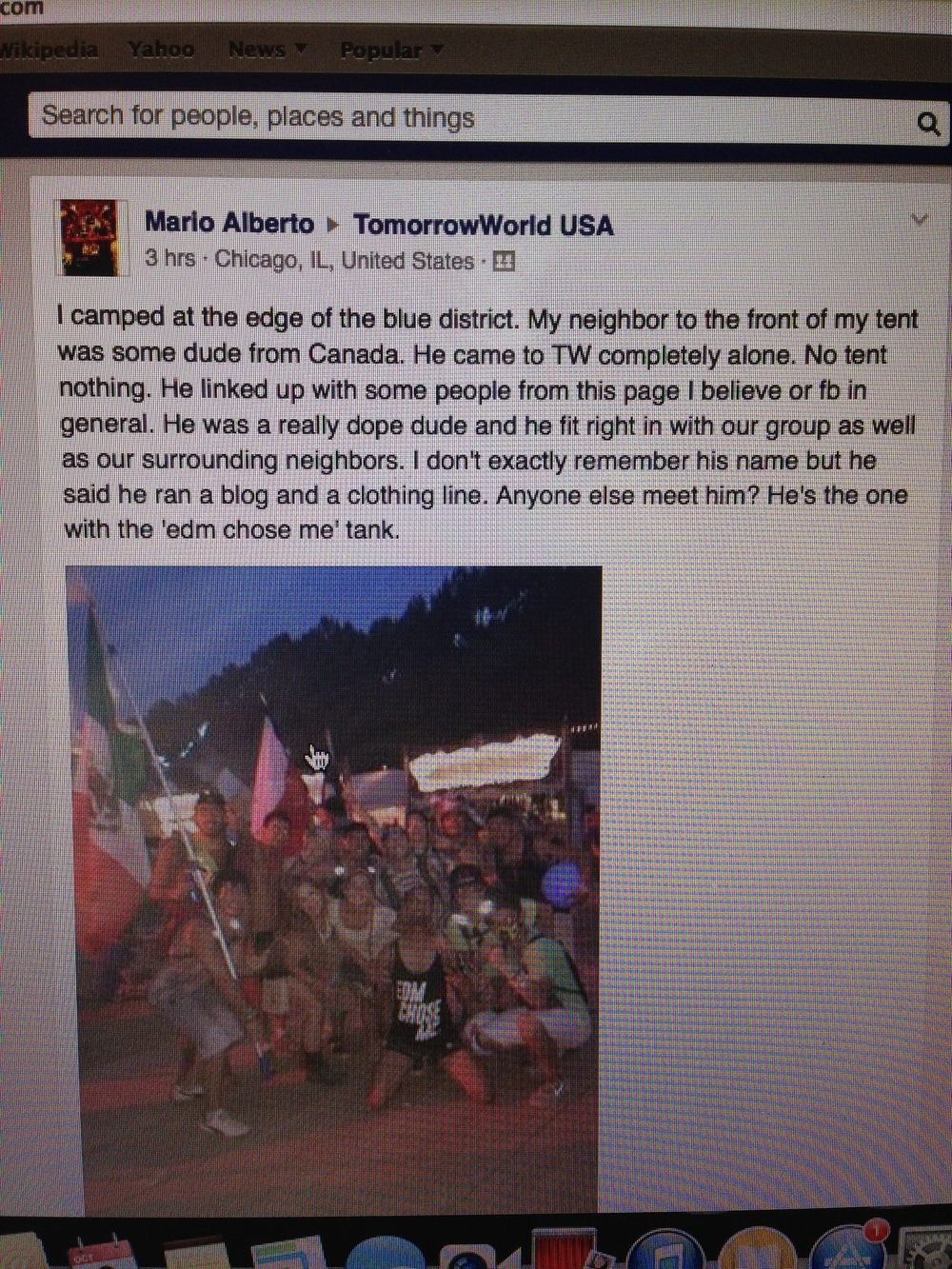 Found this randomly in TW USA group on Facebook... Mario was one of my neighbours in Dreamville and I will make sure to meet up with him again!  (Me in the EDM Chose Me Tank Top)
