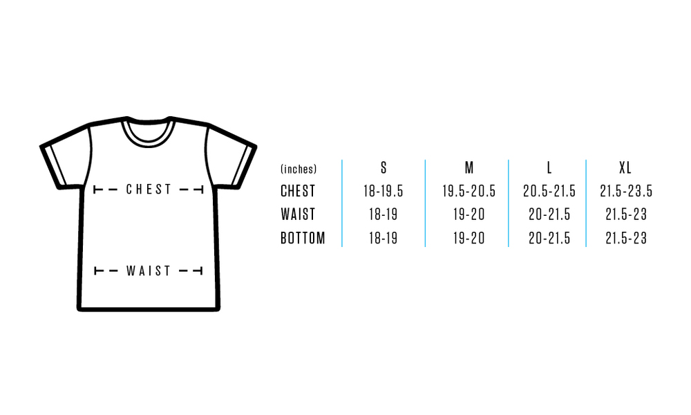 Size chart provides approximate numeric valuesforeach size. Use measuring tape, measurements are to be taken across front side only. Measurements for Chest: Measure under arms (fullest part of chest) across front side only to achieve proper fit. Measurements for Waist: Measure natural waist across the front side only. Feel free to contact us for any details or questions.