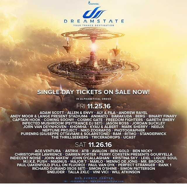 Who else is going??! 🙌🙌🙌Can't wait! @dreamstateusa #Dreamstate #SoCal #Trancd