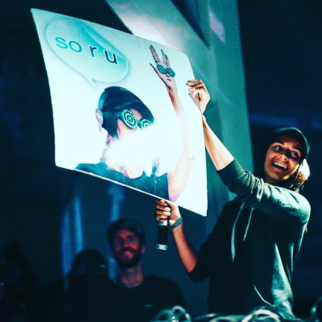 Rezz w/ the sign I made her after slaying the Pagoda Stage! Photo Cred: Will Selviz