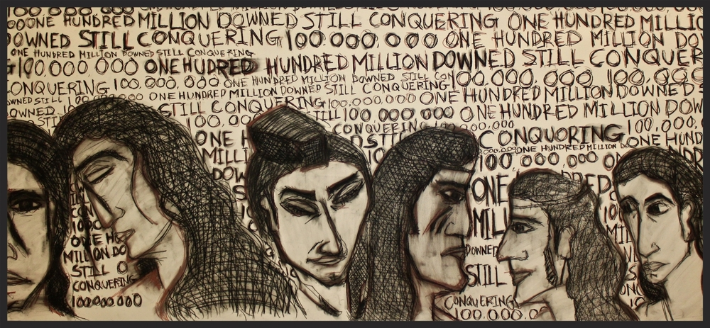 "ONE HUNDRED MILLION DOWNED AND STILL CONQUERING 36x79 IN CHARCOAL. 2015    UROPEAN SETTLERS CAME TO THEIR LAND. KILLED AND CONQUERED THEM. EUROPEANS STOLE THIS LAND FROM THEM ( CLICK HERE TO READ )   THEN THE EUROPEANS GAVE THE LAND  A NAME "" THE UNITED STATES OF AMERICA"". THE THEM I REFFER TO ARE THE TRUE KINGS AND QUEENS OF THIS LAND;   THE NATIVE AMERICANS .  NOW DAYS SOME PEOPLE HAVE THE AUDACITY TO SAY WE DON'T WANT IMMIGRANTS HERE IN THE U.S.A. TO THOSE PEOPLE I SAY; YOU DONT BELONG HERE YOU WERE NOT INVITED HERE. WHO ARE YOU TO SAY WHO COMES AND GOES? YOU ARE ON STOLEN LAND. IT DOESNT MATTER IF YOU WERE BORN HERE. YOU ARE STILL ON LAND THAT DOESN'T BELONG TO YOU. IMMIGRANTS BUILT THIS COUNTRY AND THEY ARE STILL LAYING THE FOUNDATIONS FOR TOMORROWS SKYSCRAPERS. GO TO ANY MAJOR CONSTRUCTION SITE AND SEE WHO ARE WORKING THERE.   JUST AS YOU WANT WHATS BEST FOR YOUR FAMILY CHILDREN AND LOVED ONES THE PEOPLE COMING INTO AMERICA HAVE THE RIGHT TO SEEK A BETTER LIFE FOR THEIR FAMILIES AND CHILDREN ALSO. PEACE AND EQUALITY FOR ALL."