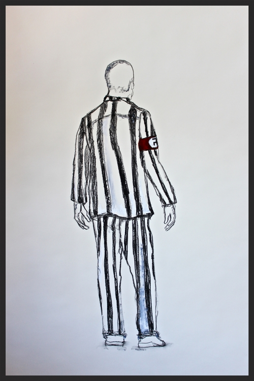 KAPO 36X48IN. MIXED MEDIA 2015     THE GERMAN CONCENTRATION CAMPS DEPENDED ON THE COOPERATION OF TRUSTEE INMATES WHO SUPERVISED THE PRISONERS. THEY ARE REFERRED TO AS   KAPOS      IN TIMES OF WAR AND CHAOS SOME MEN AND WOMEN  DID WHATEVER THEY HAD TO TO SURVIVE. DESPERATION CAUSES US TO DO UNCHARACTERISTIC THINGS. SOME PRISONERS IN NAZI CONCENTRATION CAMPS WORKED WITH THE NAZIS TO REGULATE THE OTHER PRISONERS. THEIR FREEDOM WASNT GUARANTEED BUT IT MAY HAVE BROUGHT THEM ANOTHER DAY ONTHIS PLANET.THEY  SUPERVISED FORCED LABOR AND CARRIED OUT ADMINISTRATIVE TASKS IN THE CAMPS.   PRISONERS WERE PUT INTO GAS CHAMBERS, STARVED, FORCRD TO WORK AND EXECUTED.  A MOVIE RECOMMENDATION-   THE BOY IN THE STRIPED PAJAMAS (2008)