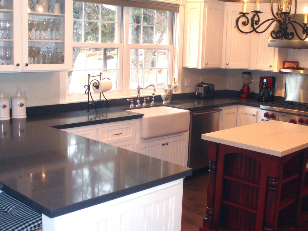 Mixed Stone Kitchen: Raven and Misty Carrara CaesarStones