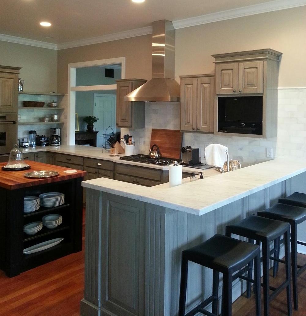 Honed White Carerra Marble Kitchen