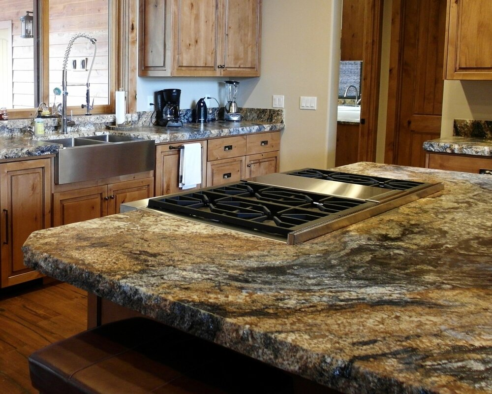 "Volcano Satin Granite with 2 1/4"" Satin Chiseled Edge"