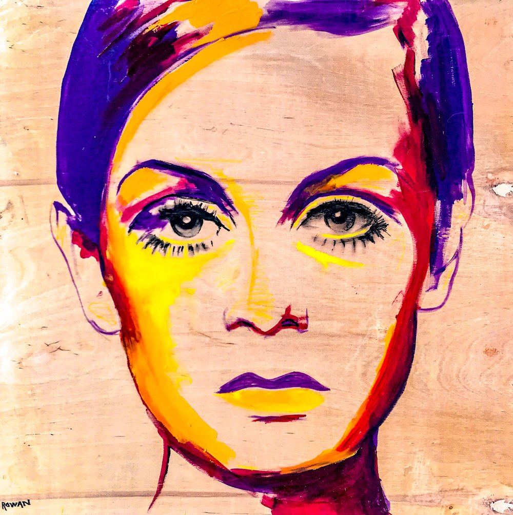 "TWIGGY ON WOOD | 24"" x 24"" 