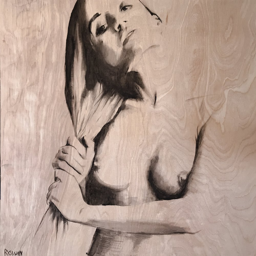 "NUDE ON WOOD  | 24"" x 24"" 