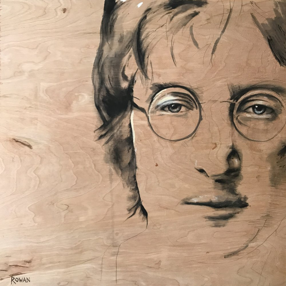 "LENNON ON WOOD | 24"" x 24"" 