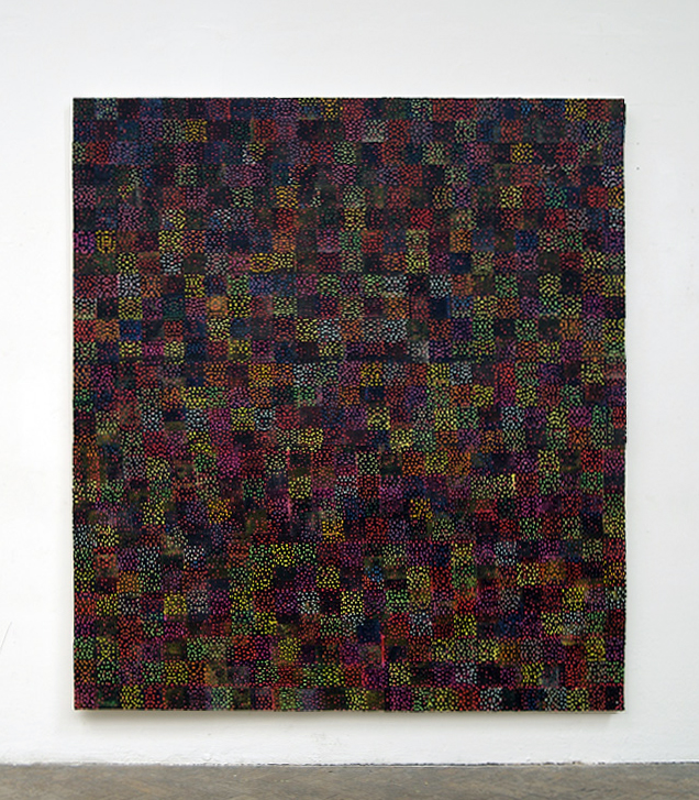 "All the Nervous Energy , acrylic, paper and adhesive on canvas, 200cm x 180cm / 78.7"" x 70.8"", 2010"