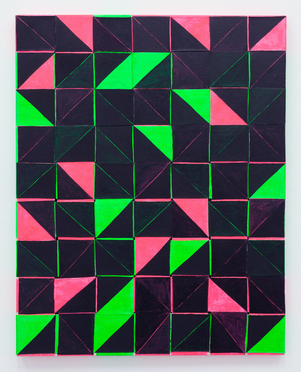 "pink cut pink , oil and acrylic on woven canvas, 29"" x 23"", 2017"