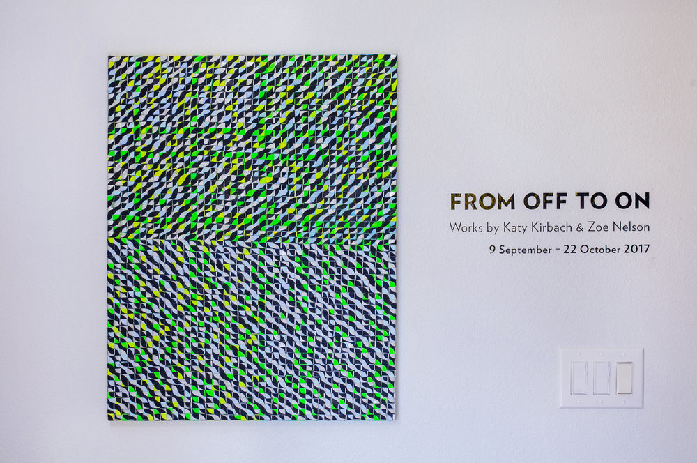From Off to On , a two-person exhibit with Zoe Nelson at Yellow Door Gallery, Des Moines, September 9 - October 22, 2017 photo credit: Karla Conrad
