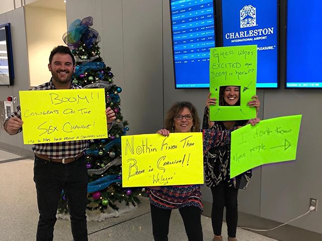 Added one more for Christmas this year! Had to welcome @boomersaia to Charleston in spectacular fashion.... You sure you wanna join our family?? #idontknowthesepeople #awkwardairportsigns