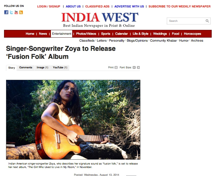 "India West announces Zoya's plans to release her next album ""The Girl Who Used To Live In My Room"""