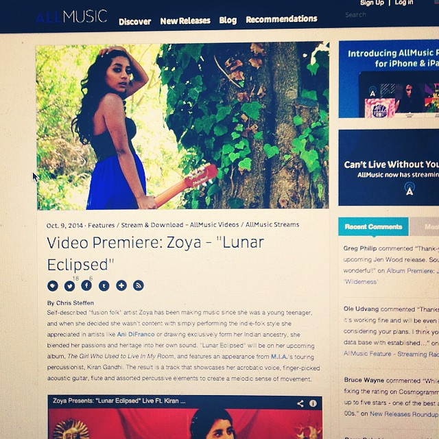 "All Music premiered Zoya's newest live video ""Lunar Eclipsed ft Kiran Gandhi"" Check it out  HERE!"