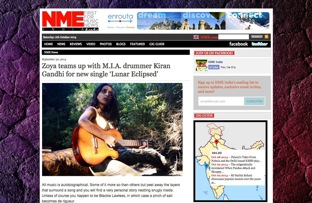 "NME India raved about Zoya's newest release and announces her upcoming project ""Lasya"" -  http://www.nme.in/zoya-teams-up-with-m-i-a-drummer-kiran-gandhi-for-new-single-lunar-eclipsed/"
