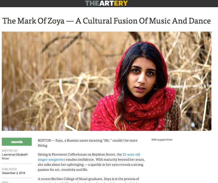 WBUR's the Artery interviewed Zoya about her latest visual EP, Lasya :  http://artery.wbur.org/2014/12/02/zoya-cultural-fusion