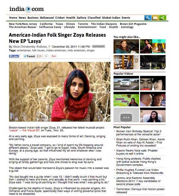 "India.Com praises Zoya and her newest visual EP ""Lasya""  Check it out HERE!"