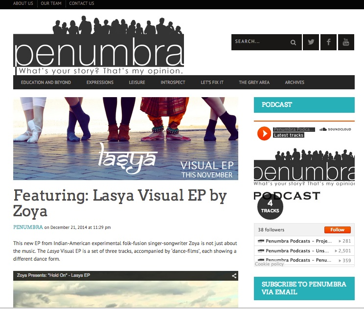 Check out what Penumbra has to say about Lasya! http://penumbramag.com/lasya-ep/