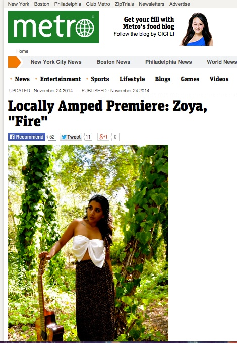 "The Metro's Locally Amped Premiered Zoya's new Video for her single, ""Fire""   http://www.metro.us/locally-amped/locally-amped-premiere-zoya-fire/zsJnky---5ESiybf0zBRb/"