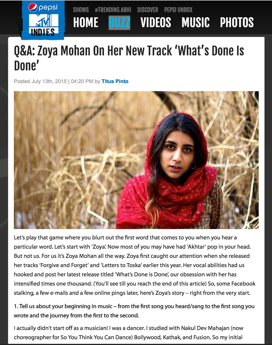 Check out Zoya in a Q & A with Pepsi MTV Indies about her newest album and track What's Done Is Done pepsimtvindies.com/buzz/special/qa-zoya-mohan-on-her-new-track-whats-done-is-done-52195341.html