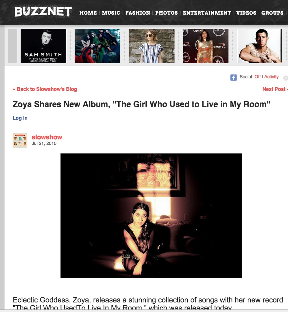 Buzz Net Reviews Zoya's newest Album, The Girl Who Used To Live In My Room