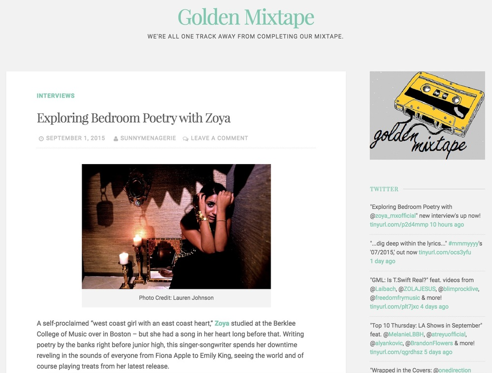 Golden Mixtape Interview with Zoya, September 1, 2015