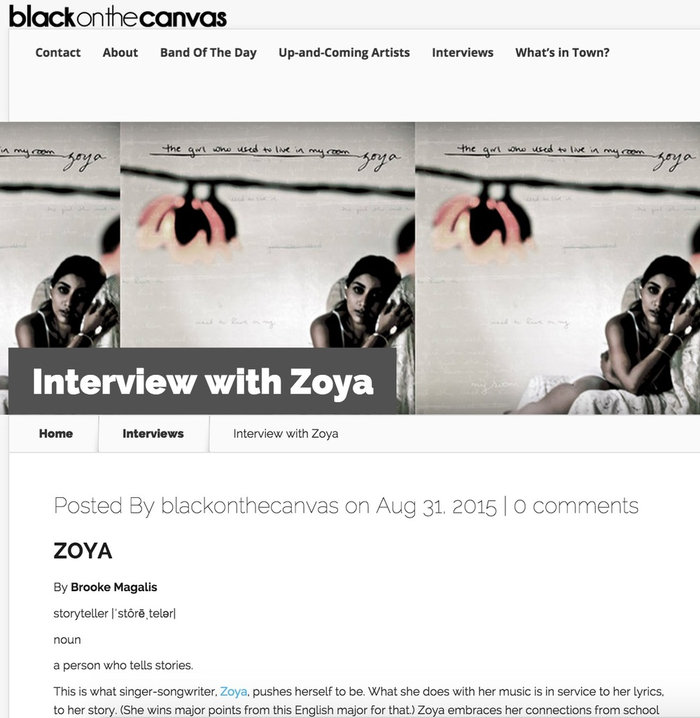 Black on the Canvas -  blackonthecanvas.com/2015/08/31/interview-with-zoya/