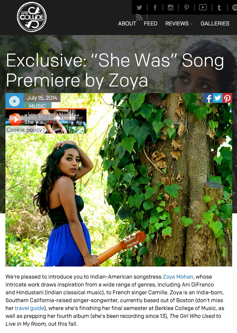 "Culture Collide premiere's Zoya's cover version os Camille's ""She Was"" -  http://www.culturecollide.com/feed/detail/exclusive_she_was_song_premiere_by_zoya#.VfCRgZ3BzGc"