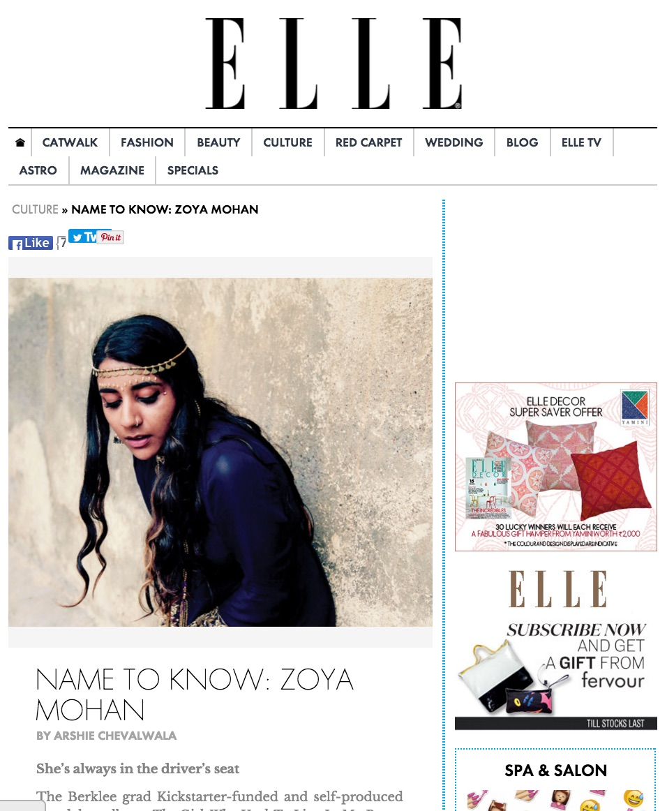 Zoya was Artist to Watch according to ELLE India this year - check out the article above!