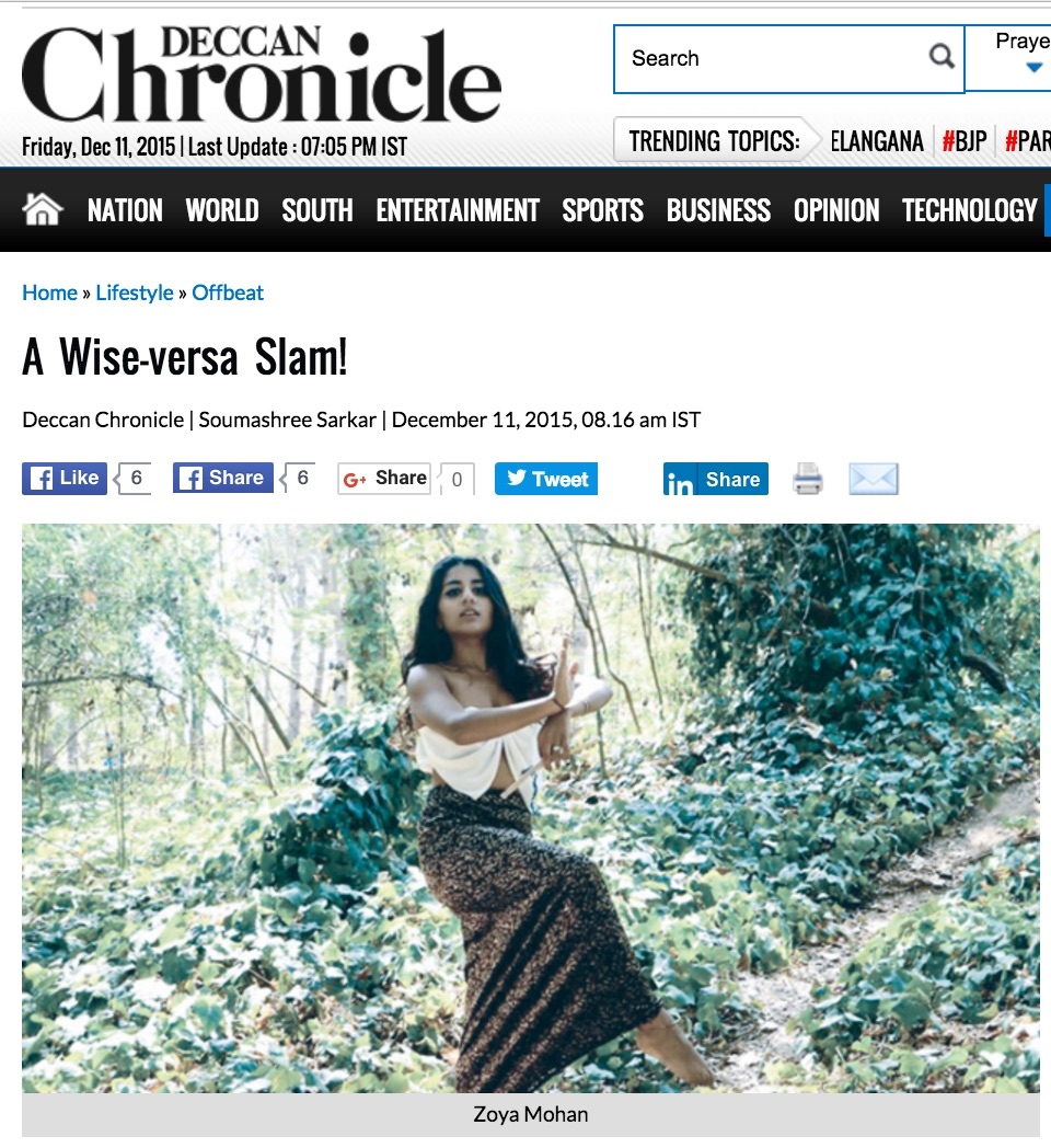 Deccan Chronicle featured Zoya before her first show in Bangalore, India.