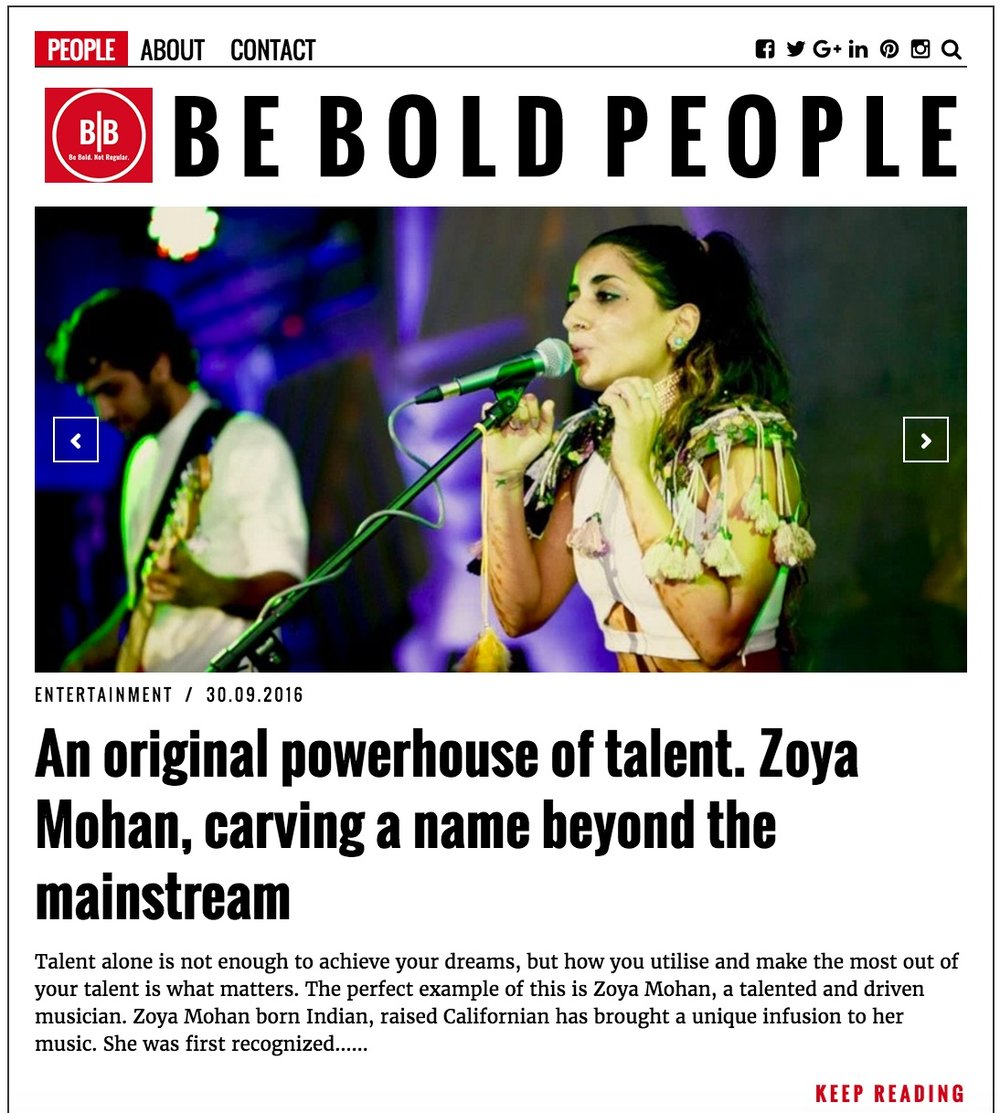 Check out Be Bold People and their conversation with Zoya on carving a name beyond the mainstream.  https://beboldpeople.com/2016/09/30/an-original-powerhouse-of-talent-zoya-mohan-carving-a-name-beyond-the-mainstream/