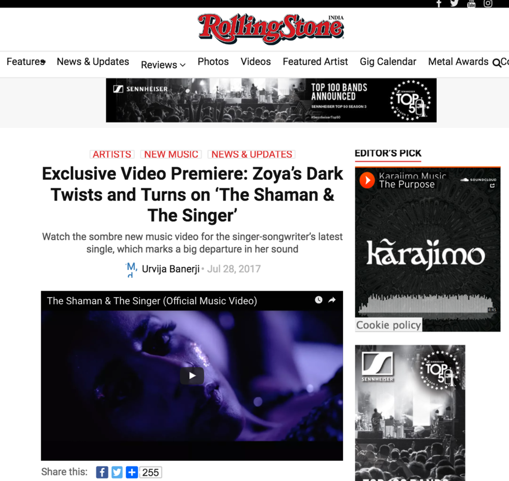 Rolling Stone: Exclusive Video Premiere for  The Shaman & the Singer
