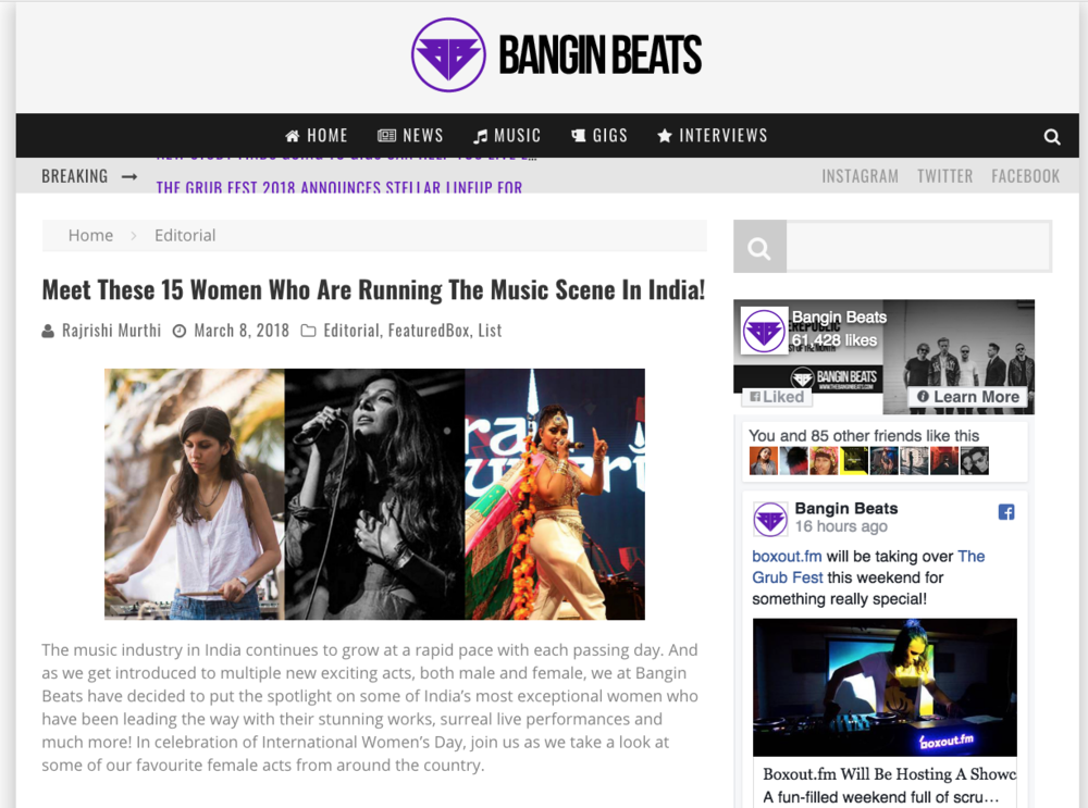 Bangin Beats - Women Running The Indian Music Scene   http://thebanginbeats.com/2018/03/15-women-running-music-scene-india/