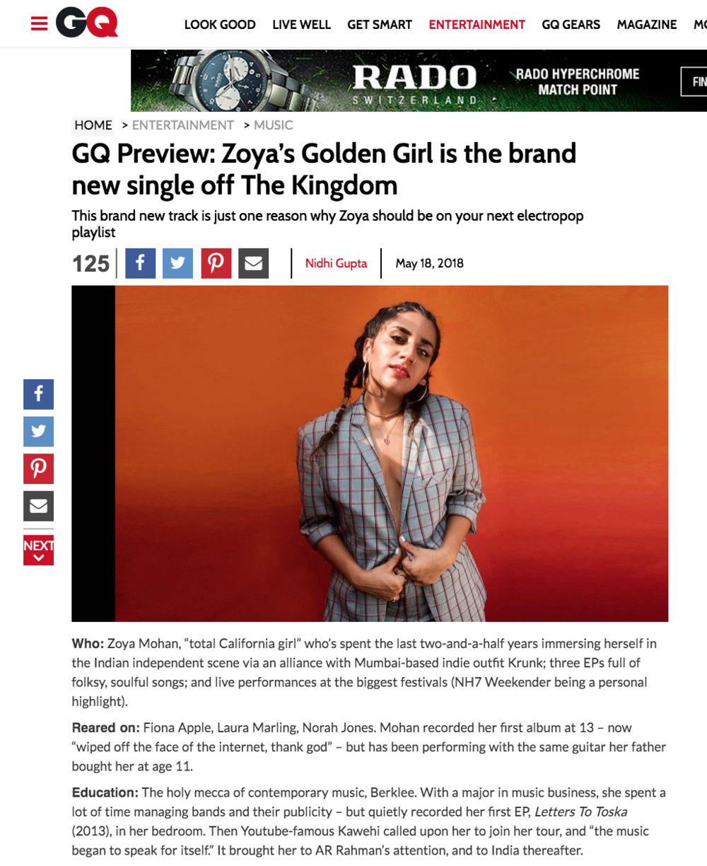 "GQ PREMIERE and EXCLUSIVE INTERVIEW  -""Golden Girl"""