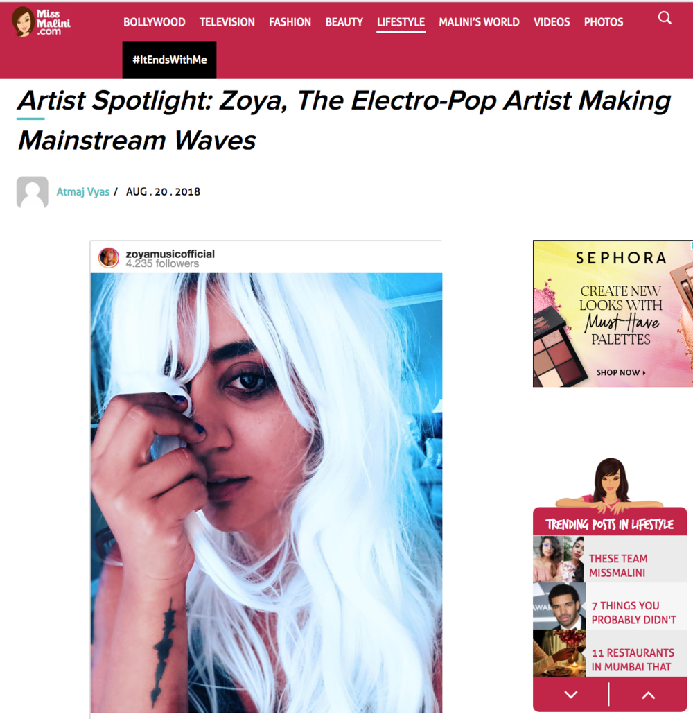 Miss Malini - Artist Spotlight - https://www.missmalini.com/2018/08/20/artist-spotlight-zoya-the-electro-pop-artist-making-mainstream-waves/