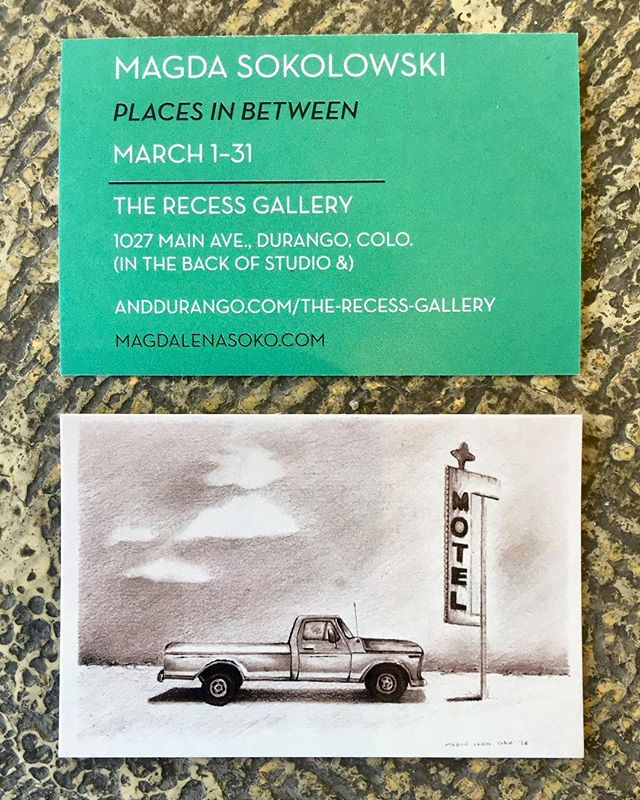 "Our Recess Gallery is graced with ""Places In Between"" by Magda Sokolowski!  Currently exhibiting and up through the month of March.  The best part of the Recess Gallery? Get a work from a killer artist without killing your budget. All of the artwork is 5""x7"" or smaller and just $100! . . . . #studioand #anddurango #contemporaryart #artgallery #durangocolorado #downtowndurango #durango #colorado #CO #art #artideasprogress #localart #shoplocal #localfirst #makesomething #dgo"