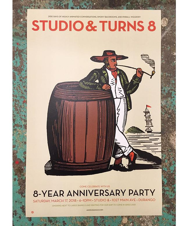 March 17th, 6-10pm!  Come Celebrate with us! 8-Year Anniversary Party! . . Smoking next to a large barrel and waiting for our ship to come since 2010. . . More info to come! . . . #studioand #anddurango #contemporaryart #artgallery #durangocolorado #downtowndurango #durango #colorado #CO #art #artideasprogress #localart #shoplocal #localfirst #makesomething #dgo
