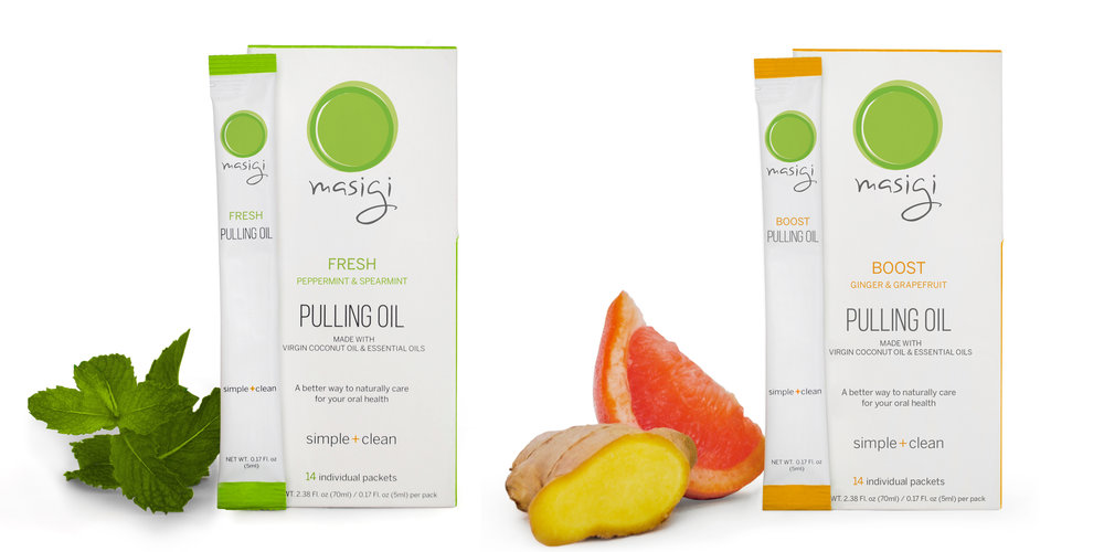 Masigi Pulling Oil Mouthwash made in USA with organic coconut oil and organic essential oils in travel friendly individual packets for oral health and hygiene. Freshens breath, brightens teeth, overall detox and cleanse. Fresh mint flavor and Boost ginger grapefruit flavor.