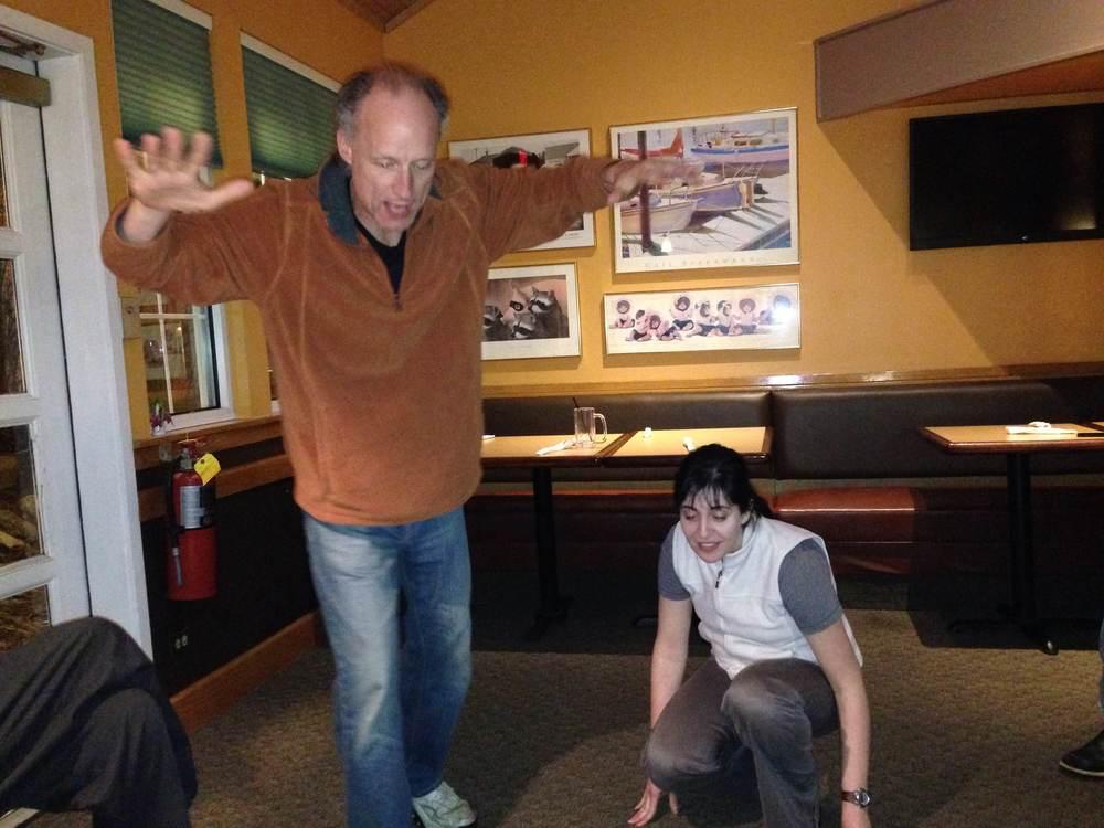 Richard O. and Kimberly G. practice an IMPROV scene